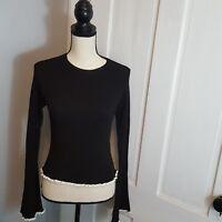 Zara Women's Long Sleeve Top Size Small Black Ribbed Crew Neck Bell Sleeve