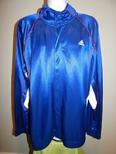 adidas CLIMA365 Blue w/ White Red Button LS Basketball Warm-Up Jacket Men's 2XL