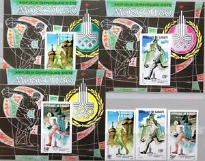 DJIBOUTI DSCHIBUTI 1980 273-5 Block 18-20 B C129-31 Olympics Moscow Basketball**