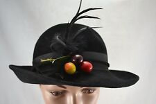 VINTAGE PAULINE for BERMONA black felt hat fedora 1970s feathers and cherries
