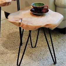 Accent End Side Table Cedar Wood Slice Top Mid-Century Hairpin Leg Living Room