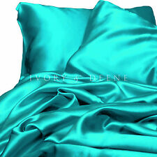 Turquoise Satin Sheet Set KING Size Silk Feel Hotel Bed Linen Luxury Bedding New