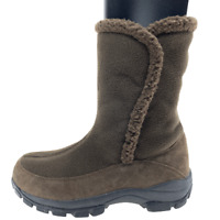 Lands End Womens 87862 Brown Suede Faux Fur Lined Slipper Boots Mid Calf Size 9B