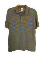 LACOSTE Mens XL Brown 100 Cotton Croc Logo Short Sleeve Golf Polo Shirt Size 6