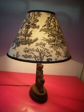 BLACK FOREST  CARVED WOOD  FIGURAL LAMP With PERIOD SHADE