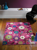 "Modern Floral Design Bohemia Rug Cream - Pink in 120 x 160 cm (4' x 5'3"") Carpet"