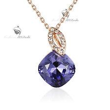 18k rose gold gf made with purple SWAROVSKI crystal pendant necklace