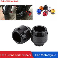 1x Black CNC + Carbon Fiber Motorcycle Front Fork Frame Sliders Crash Protection