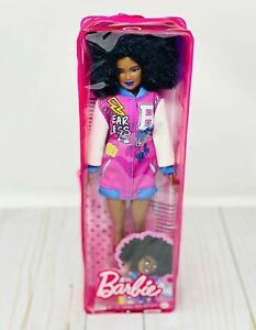 New Barbie Fashionistas Doll #156 'fearless' Style with afro And Blue Lipstick!