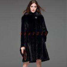 Chic para mujer dama 100% Real visón abrigo de piel Abrigo Chaqueta Parka Trinchera caliente al aire libre