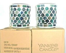 Yankee Candle Set of 2x FRESH OCEAN MOSAIC Votive Holders - New in Boxes