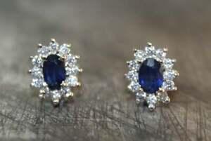 Silver Blue Sapphire Ear Stud 4x6 mm Oval sapphire stud Natural sapphire Earring