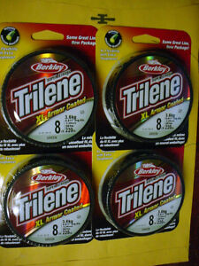 4 ROLLS BERKLEY XL GREEN  ARMOR COATED TRILENE-8 LB (.28MM) W 220 YDS EA SPOOL