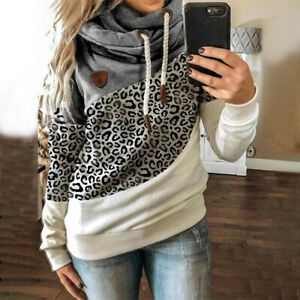 UK Women Leopard Print Hooded Sweatshirt Tops Ladies Patchwork Jumper Pullover