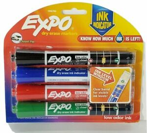 EXPO Dry Erase Markers Ink Indicator Chisel Tip Pack of 4 Color markers NEW
