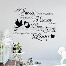 Baby Boys Girls Nursery Bedroom Wall Stickers Quote Decor Decal with Stork