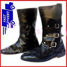 New Medieval Leather Boots Renaissance Viking Pirate Shoe Mens Black Long Shoes