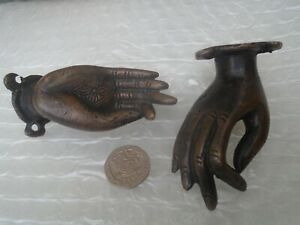 Pair of fine looking small bronzed brass hands   UNUSUAL HANDLES  take a look