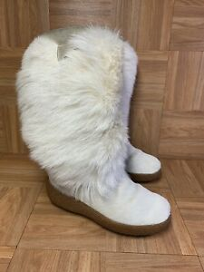 RARE🔥 Oscar Sport White Gum Yeti Goat Fur Hair Boots Women's Sz 38 Leather Snow