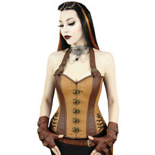 Restyle Steampunk Brown Faux Leather Steel Halter Overbust Strap Hook Corset