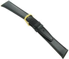 13mm T&C Black Genuine Calfskin Leather Flat Stitched Watch Band Ladies Reg