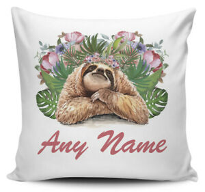 Personalised (Any Name) Floral Sloth Novelty Cushion Cover