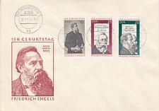 DDR  FDC Ersttagsbrief 1970 Friedrich Engels Mi.Nr.1622-24 Stempel Bernburg