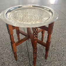 Handmade Moroccan Traditional Brass Tray Top Round Carved Wood NEW