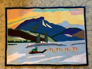 "Antique Grenfell Rug Large 28"" Inuit Eskimo Dog Arctic Midnight Sun Hand Made"