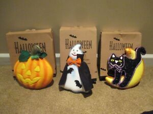 Avon 2004 Halloween Glowing Fiber Optic Color Changing Black Cat PUMPKIN Ghost