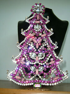 XL ART DECO VINTAGE RHINESTONE Christmas TREE XMASS STANDING *SIGNED* X435