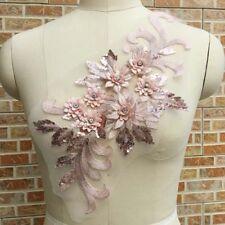 1x Gorgeours Beaded Sequins Lace Applique 3D Flower Patch Motif Costume Wedding