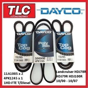 Dayco Fan Belt Kit (3 Belts) Landcruiser HDJ78R HDJ79R HDJ100R 1HD-FTE T/Diesel