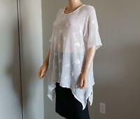 Italian Sarah Santos White Linen Mesh Blouse Sweater sz L XL Italy