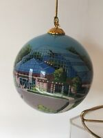 Art Glass Studio Company Hand Painted Glass Ornament - Green House Building-