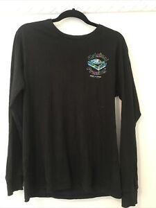Black Long Sleeve Shirt Mens Size S Fluro Vinyl Print