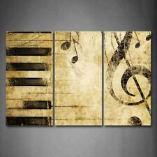 Framed Note Piano Keys Wall Art Painting Pictures Canvas Print Music Picture