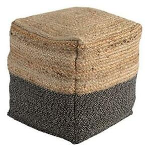 Sweed Valley Farmhouse Pouf, 17.5 x 20.25 in, Light Brown and Black