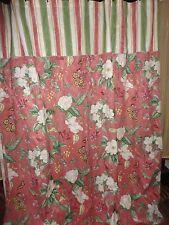 Waverly Williamsburg Magnolia Coral Pink Green Floral Stripe Shower C 00006000 Urtain