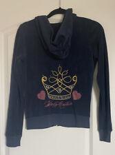 VINTAGE Juicy Couture Hoodie Size Medium Royal Crown Hearts Navy Blue Zip Up