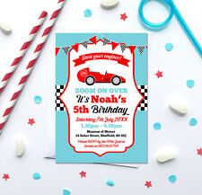 Race Car Themed Birthday Party Invitations *Any Age* - pack of 10 with envelopes