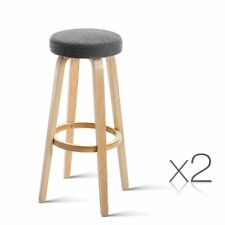 2x Bentwood Bar Stool Wooden Barstool Dining Chair Kitchen Padded Seat Taupe