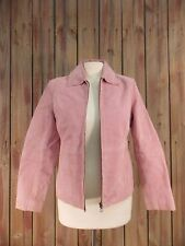 Relativity Jacket Suede Leather  Zip Front  Lined Pink Women's Size Petite S