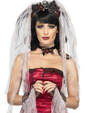 Gothic Sposa Velo con Rosato Skull Colletto e Wrist Polsini Halloween Smiffys