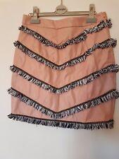 ASOS Goldie Pink Black Gold Tassel Fringe Layered Bodycon Leather Mini Skirt 10