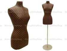 Female Size 6/8 Brown Checker Pattern Pu Leather Cover Form #Jf-F6/8Pu-Chk+Bs-04