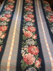 FAB! VTG Shabby Chic Blue Percale Striped Floral Double Sided Queen Duvet Cover