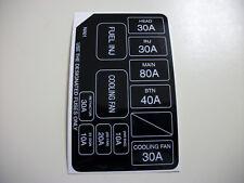 90-93 mazda miata under hood fuse box sticker/label, 1 6