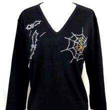 PLUS 2X Black Halloween Spider In Web & Bats Rhinestone Embellished Top Shirt