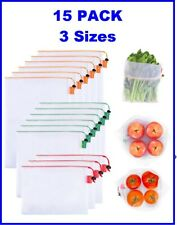 New listing Gogooda 15 Pack Reusable Produce Bags, Transparent Zero Waste Mesh Bags 3 sizes